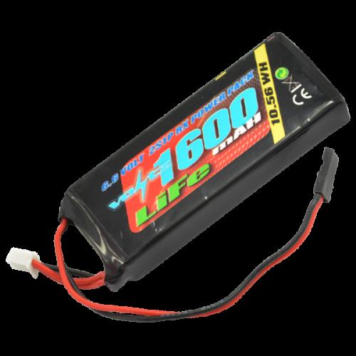 1600mah 2s 6.6v RX LiFe Straight Battery Pack