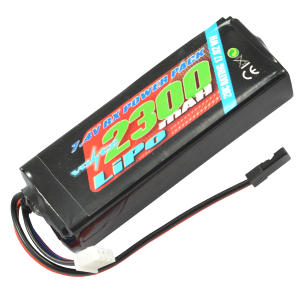 2300mah 2s 7.4v RX LiPo Straight Battery Pack