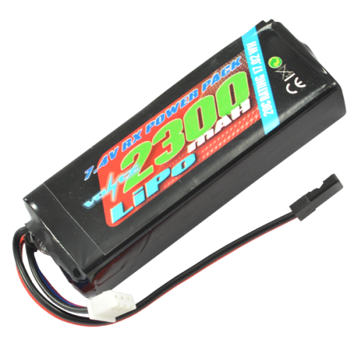 2300mah 2s 7.4v RX LiPo Straight Battery Pack