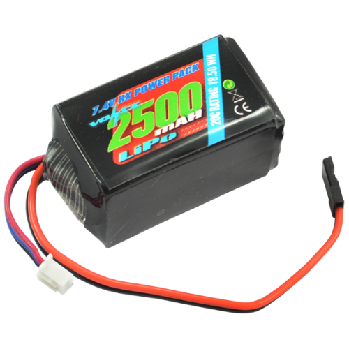 2500mAh 2s 7.4v RX LiPo Hump Battery Pack