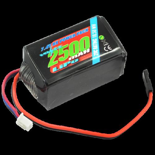2500mah 2s 7.4v RX LiPo Hump Battery Pack